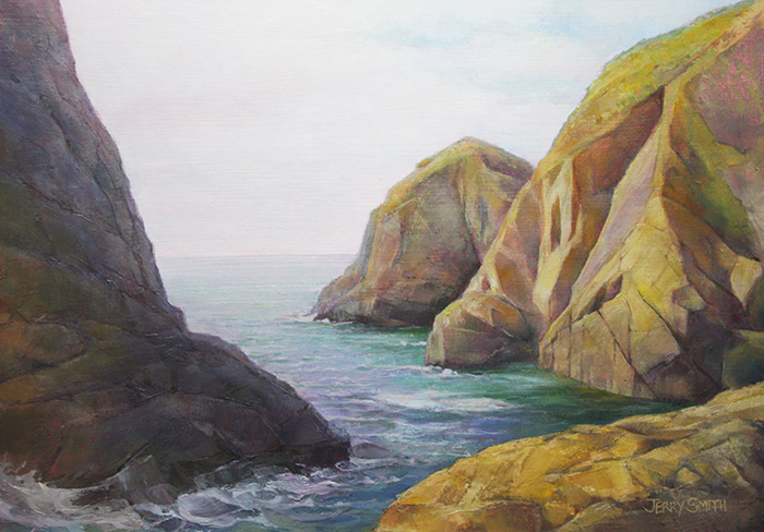 Mullion Cove Rocks  - painting by Jerry Smith