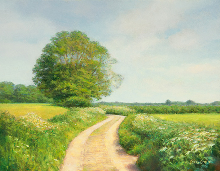 Jervis Court Lane, near Swanmore  - painting by Jerry Smith