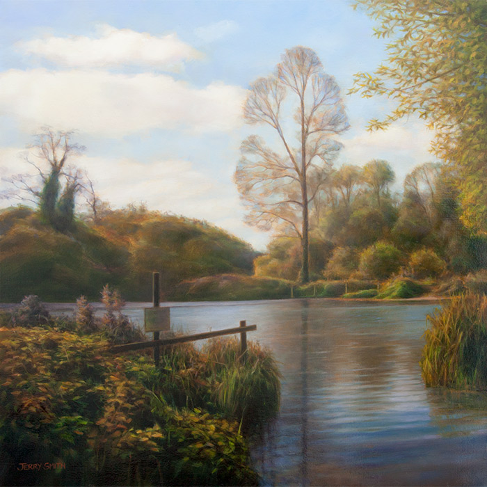 River Test Reflections  - painting by Jerry Smith