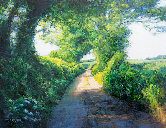 Jervis Court Lane near Swanmore  - painting by Jerry Smith