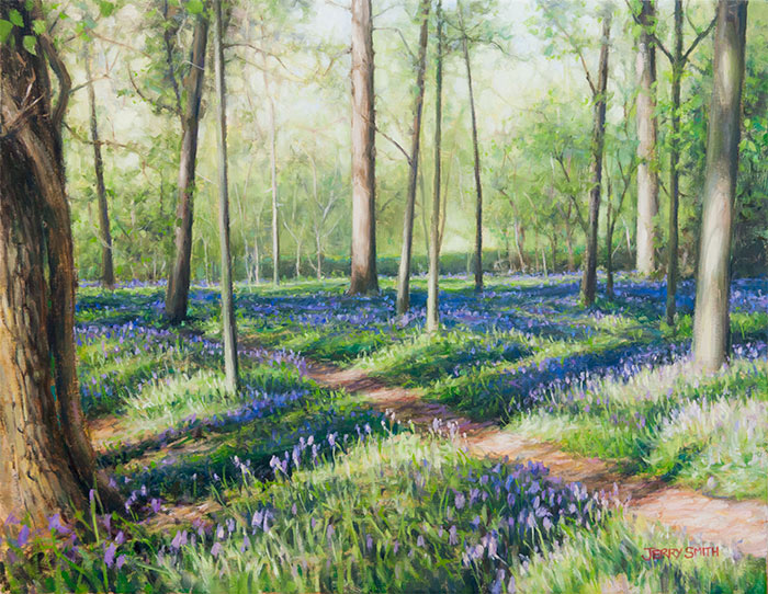 Bluebell Wood near Soberton  - painting by Jerry Smith