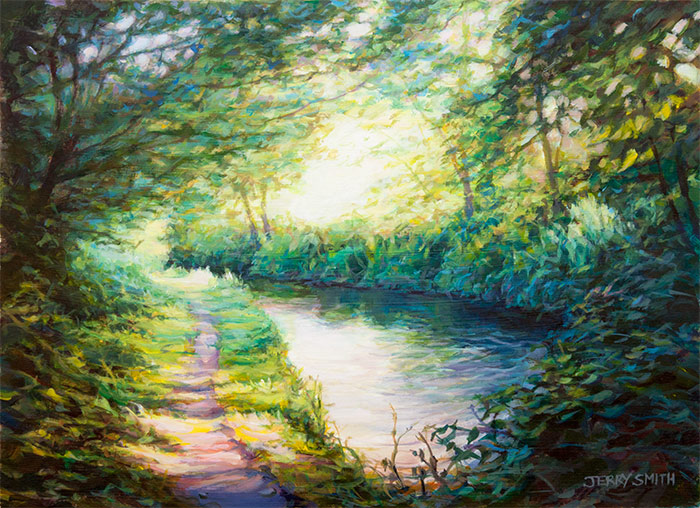 Warm and cool on the Meon River  - painting by Jerry Smith