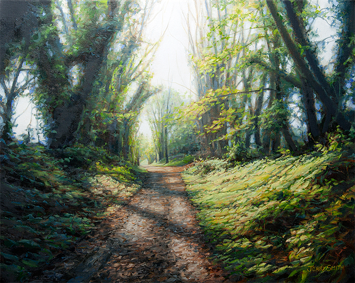 Meon Valley Trail near Soberton  - painting by Jerry Smith