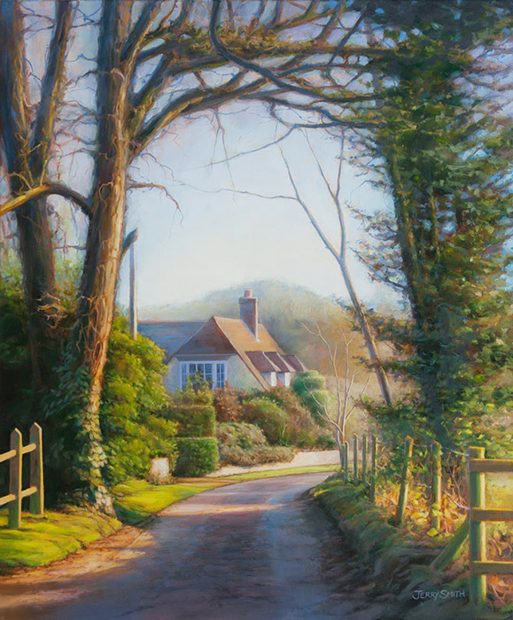 Mayhill Lane Winter Light - original painting by Jerry Smith