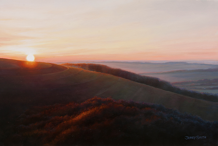 Sunset over Old Winchester Hill - original painting by Jerry Smith