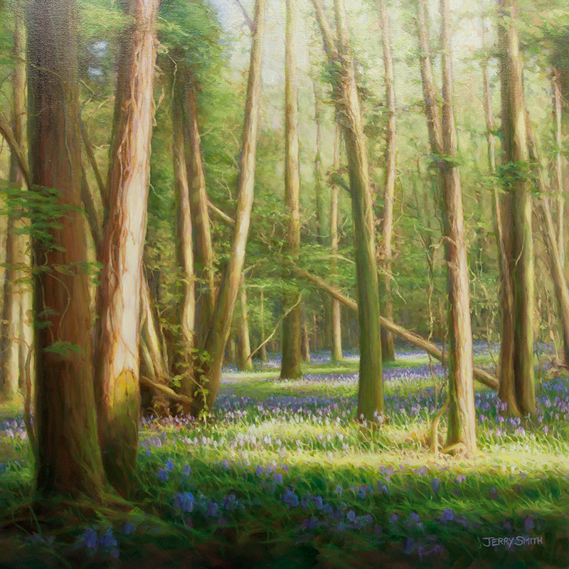 Bluebell Wood  - painting by Jerry Smith