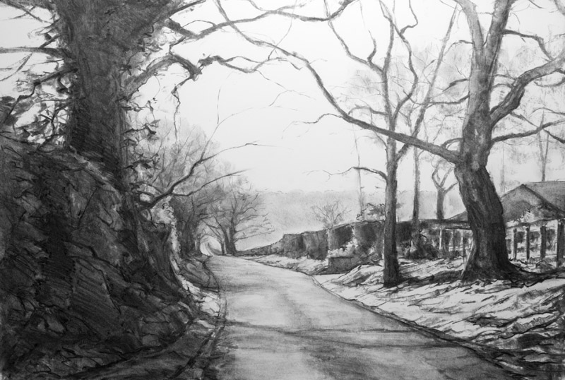 Lane near Old Winchester Hill - original charcoal drawing by Jerry Smith