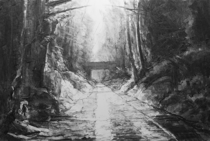 Meon Valley Trail near Cutts Arch - original charcoal drawing by Jerry Smith