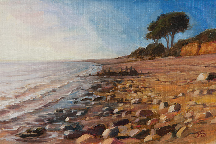 Lepe Beach in winter - original painting by Jerry Smith