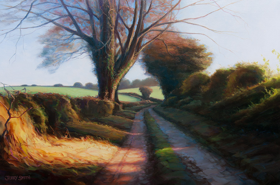 Blazing along the South Downs Way - original painting by Jerry Smith