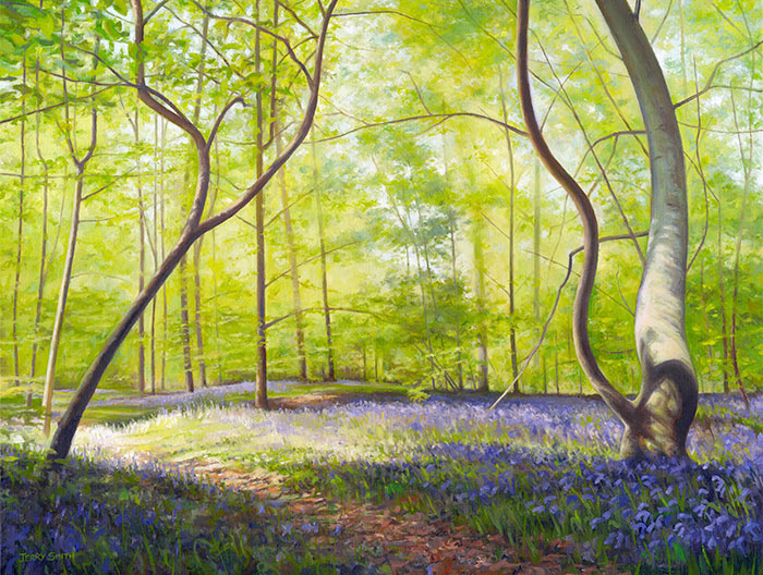 Bluebell Wood, Forest of Bere  - painting by Jerry Smith