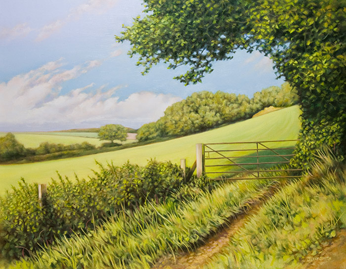 Summertime in Hampshire - original painting by Jerry Smith
