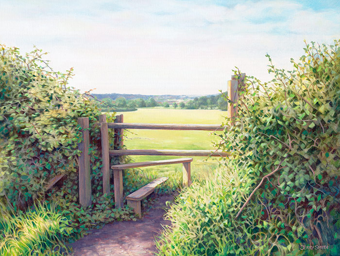 Swanmore Stile  - painting by Jerry Smith